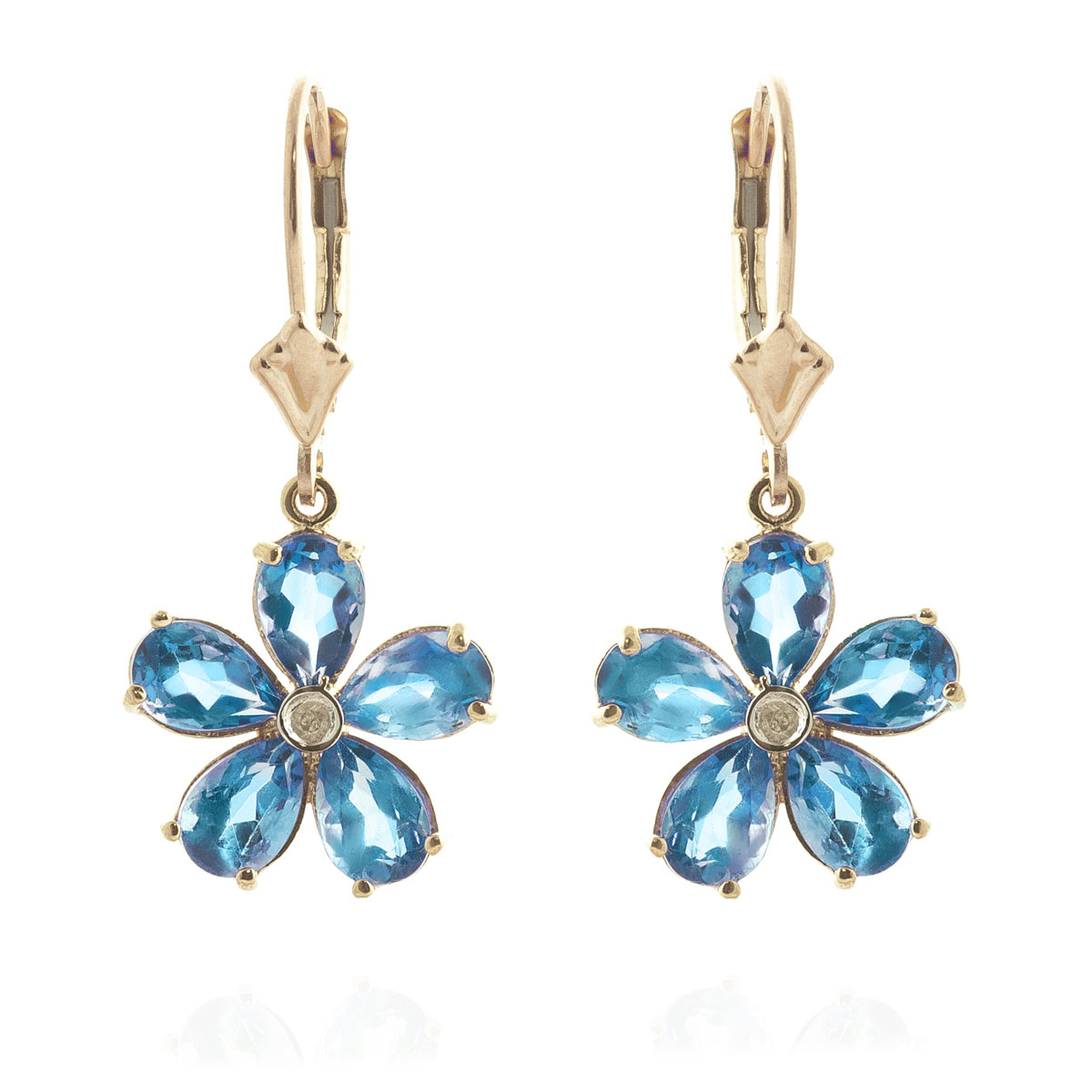 Blue Topaz & Diamond Flower Petal Drop Earrings in 9ct Gold