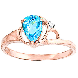 Blue Topaz & Diamond Glow Ring in 9ct Rose Gold