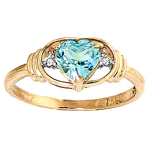 Blue Topaz & Diamond Halo Heart Ring in 9ct Gold