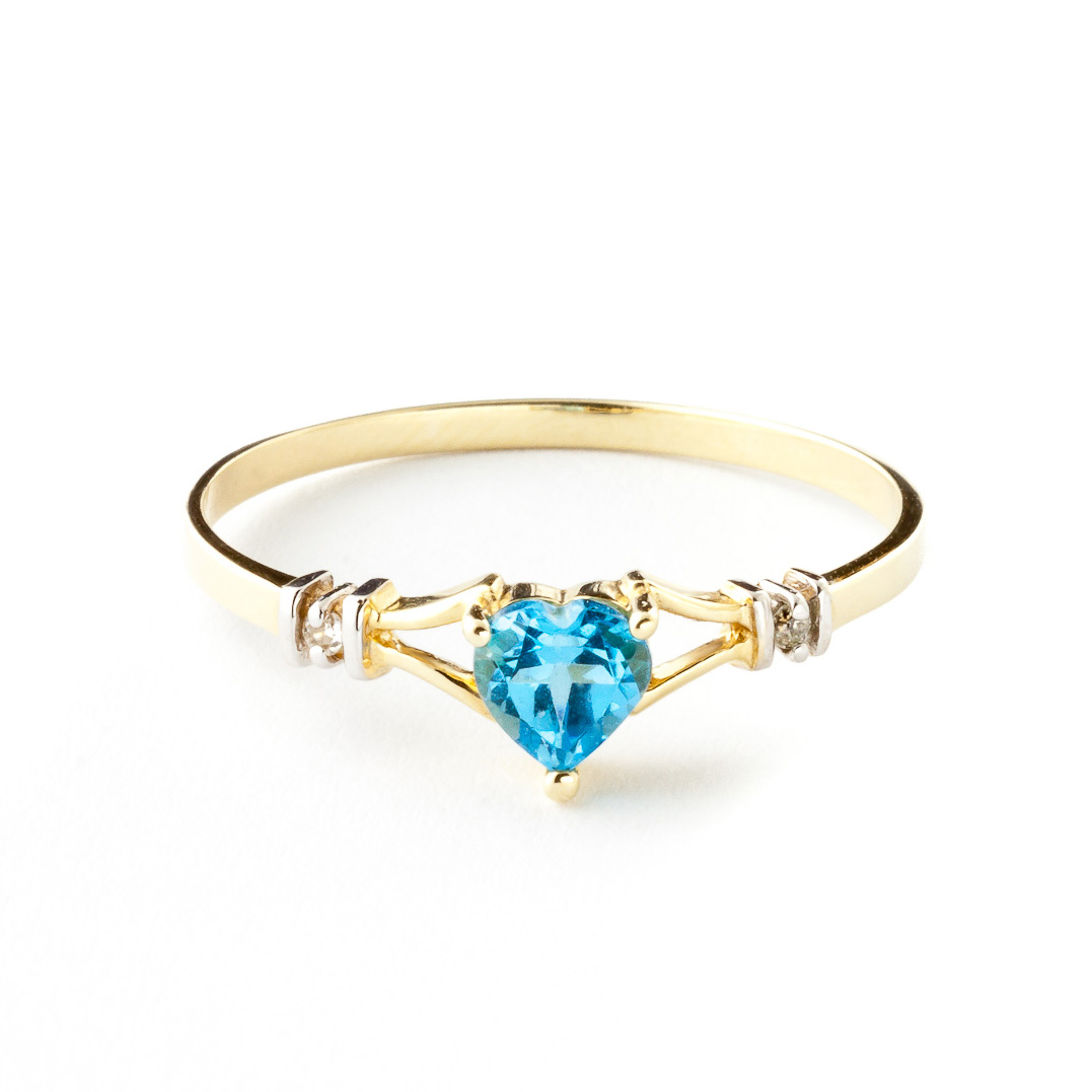 Blue Topaz & Diamond Heart Ring in 9ct Gold