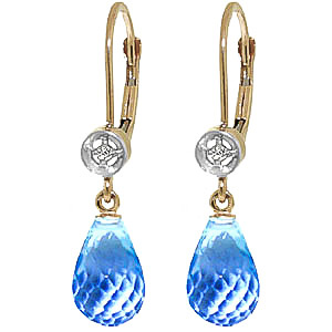 Blue Topaz & Diamond Illusion Drop Earrings in 9ct Gold