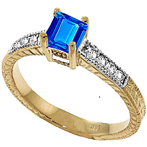 Blue Topaz & Diamond Shoulder Set Ring in 18ct Gold