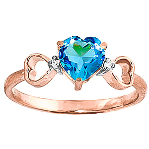 Blue Topaz & Diamond Trinity Ring in 9ct Rose Gold