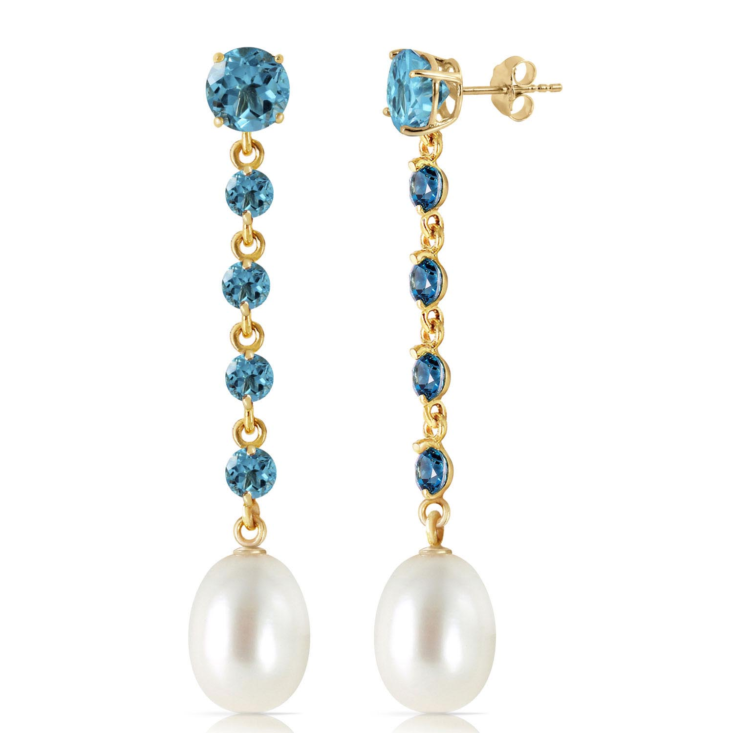 Blue Topaz & Pearl by the Yard Drop Earrings in 9ct Gold