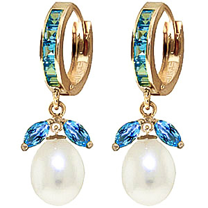 Blue Topaz & Pearl Dewdrop Huggie Earrings in 9ct Gold