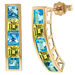 Blue Topaz & Peridot Channel Set Stud Earrings in 9ct Gold