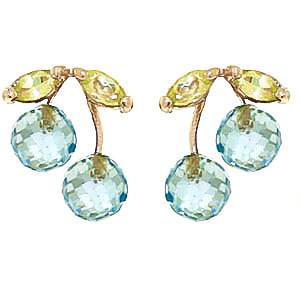 Blue Topaz & Peridot Cherry Drop Stud Earrings in 9ct Gold