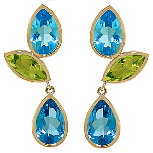 Blue Topaz & Peridot Petal Drop Earrings in 9ct Gold