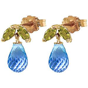 Blue Topaz & Peridot Snowdrop Stud Earrings in 9ct Gold