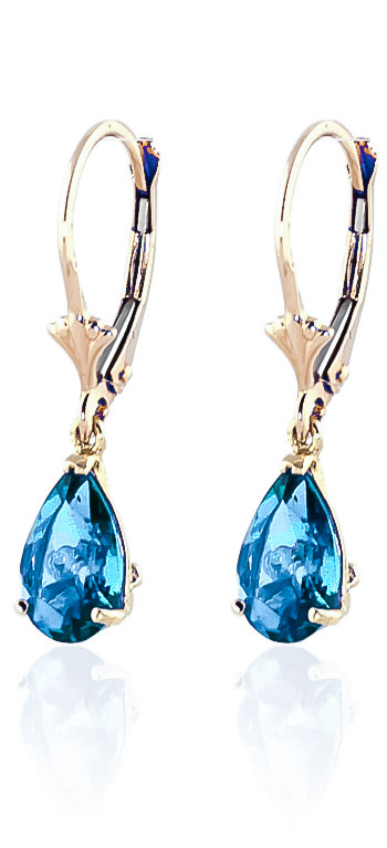 Blue Topaz Belle Drop Earrings 3.77 ctw in 9ct Gold