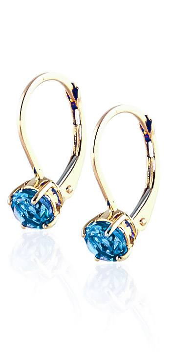 Blue Topaz Boston Drop Earrings 1.2 ctw in 9ct Gold