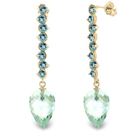 Blue Topaz Briolette Drop Earrings 25.6 ctw in 9ct Gold