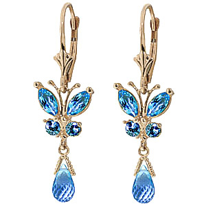 Blue Topaz Butterfly Drop Earrings 2.74 ctw in 9ct Gold