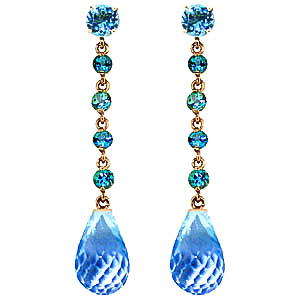 Blue Topaz by the Yard Drop Earrings 23 ctw in 9ct Gold
