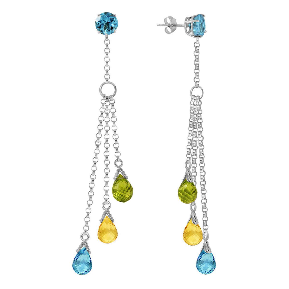 Blue Topaz, Citrine & Peridot Trilogy Droplet Earrings in 9ct White Gold