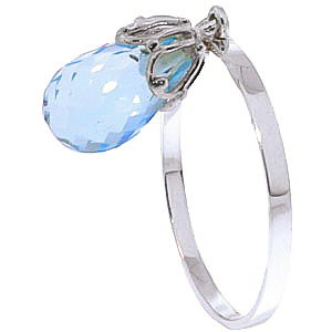 Blue Topaz Crown Ring 3 ct in 9ct White Gold