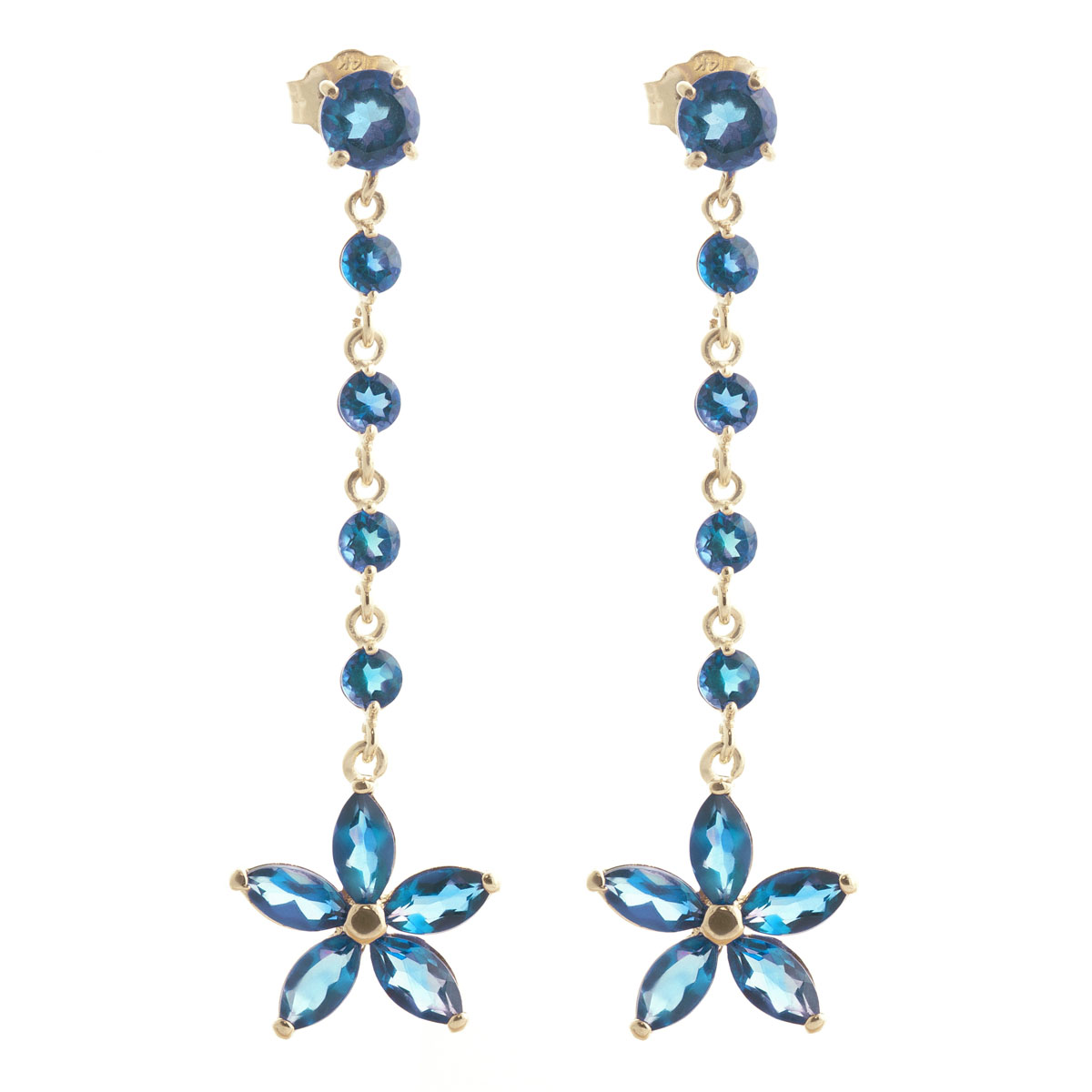 Blue Topaz Daisy Chain Drop Earrings 4.8 ctw in 9ct Gold