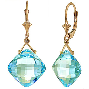 Blue Topaz Deflection Drop Earrings 17.5 ctw in 9ct Gold