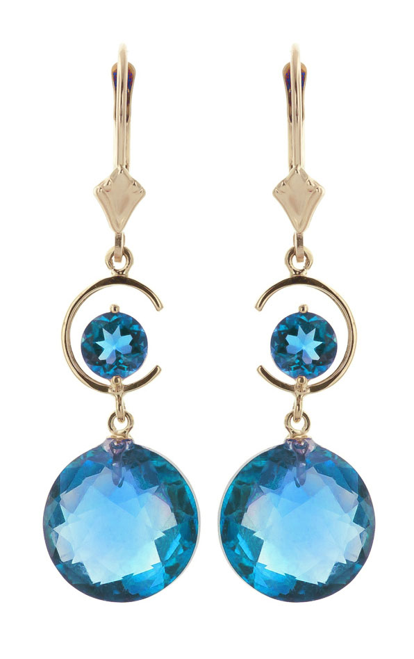 Blue Topaz Drop Earrings 11.6 ctw in 9ct Gold