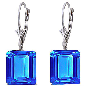 Blue Topaz Drop Earrings 13 ctw in 9ct White Gold
