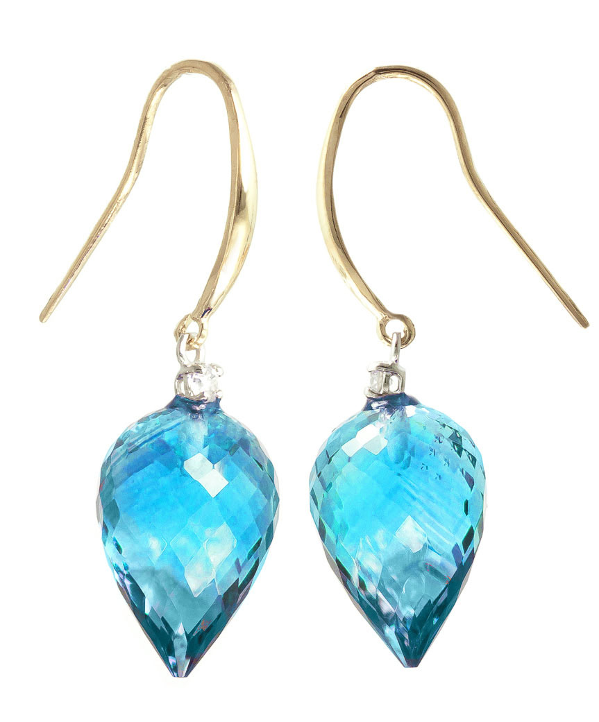 Blue Topaz Drop Earrings 22.6 ctw in 9ct Gold