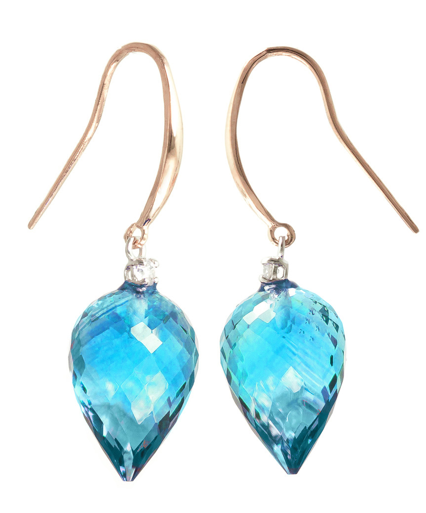 Blue Topaz Drop Earrings 22.6 ctw in 9ct Rose Gold