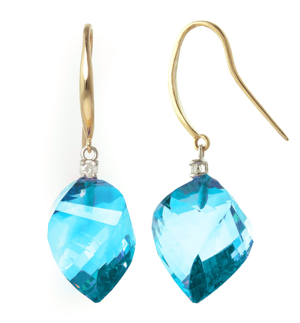 Blue Topaz Drop Earrings 27.9 ctw in 9ct Gold