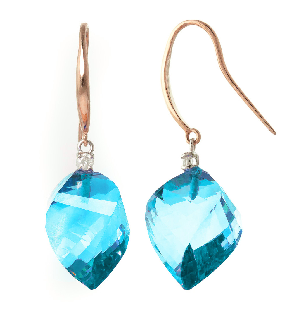 Blue Topaz Drop Earrings 27.9 ctw in 9ct Rose Gold