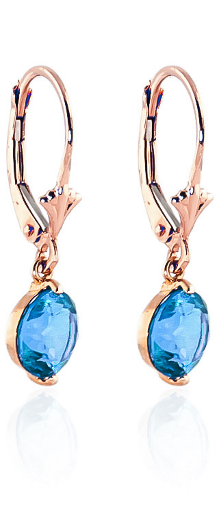 Blue Topaz Drop Earrings 3.1 ctw in 9ct Rose Gold