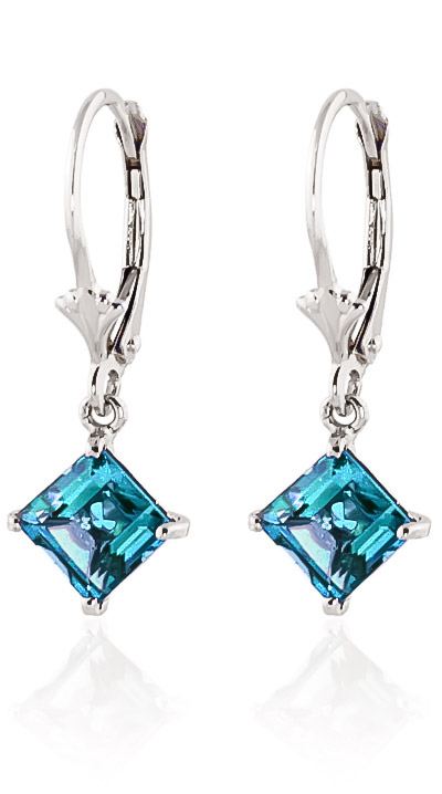 Blue Topaz Drop Earrings 3.2 ctw in 9ct White Gold