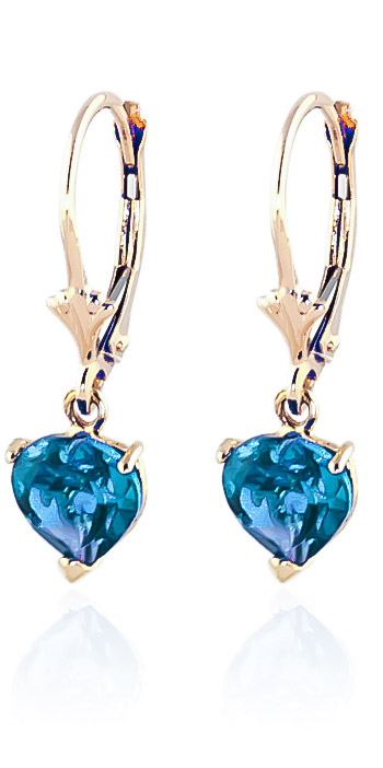 Blue Topaz Drop Earrings 3.25 ctw in 9ct Gold
