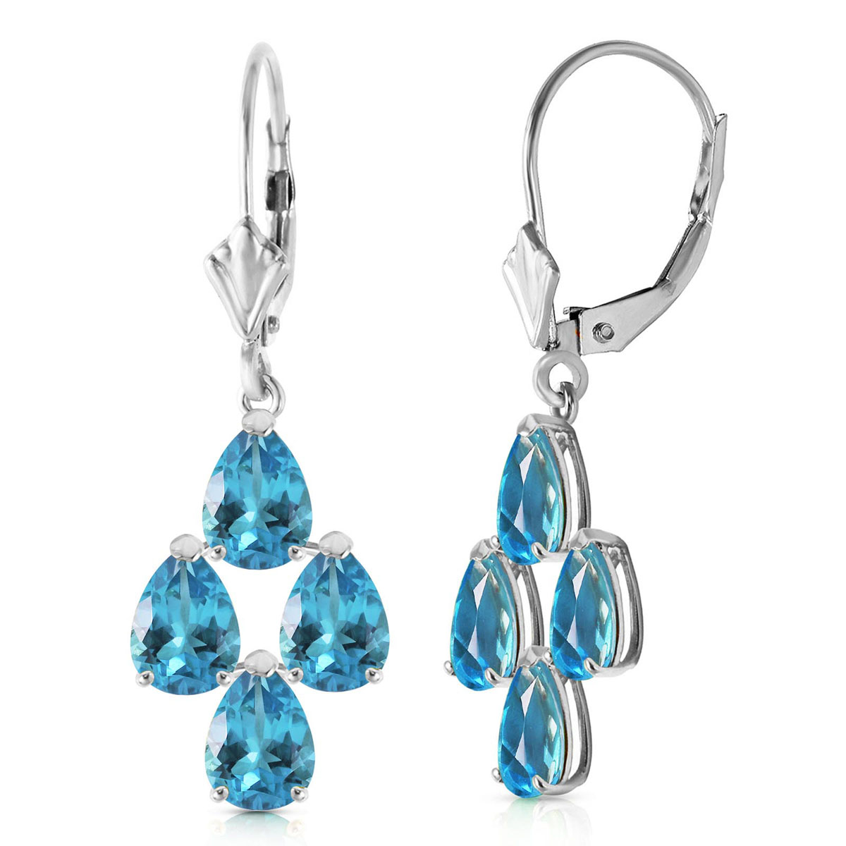 Blue Topaz Drop Earrings 4.5 ctw in 9ct White Gold