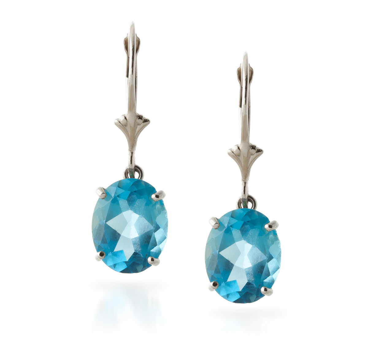 Blue Topaz Drop Earrings 6.25 ctw in 9ct White Gold