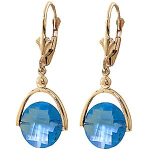 Blue Topaz Drop Earrings 6.5 ctw in 9ct Gold