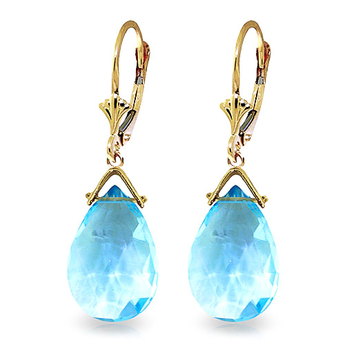 Blue Topaz Droplet Earrings 10.2 ctw in 9ct Gold