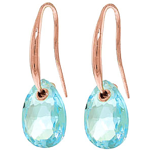 Blue Topaz Droplet Earrings 8 ctw in 9ct Rose Gold
