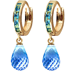 Blue Topaz Droplet Huggie Earrings 5.35 ctw in 9ct Gold