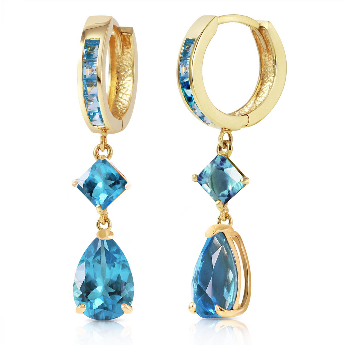 Blue Topaz Droplet Huggie Earrings 5.62 ctw in 9ct Gold