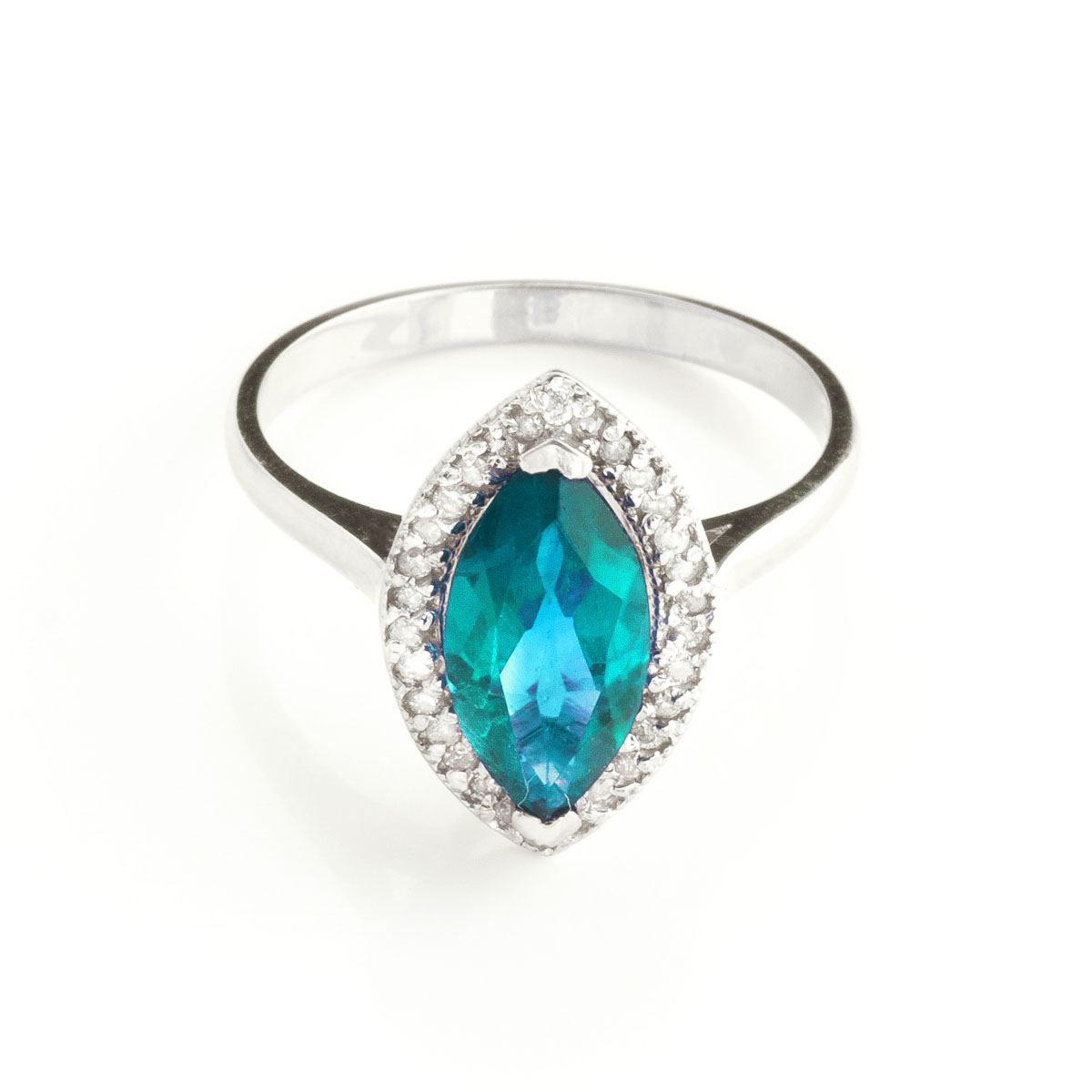 Blue Topaz Halo Ring 2.4 ctw in 18ct White Gold