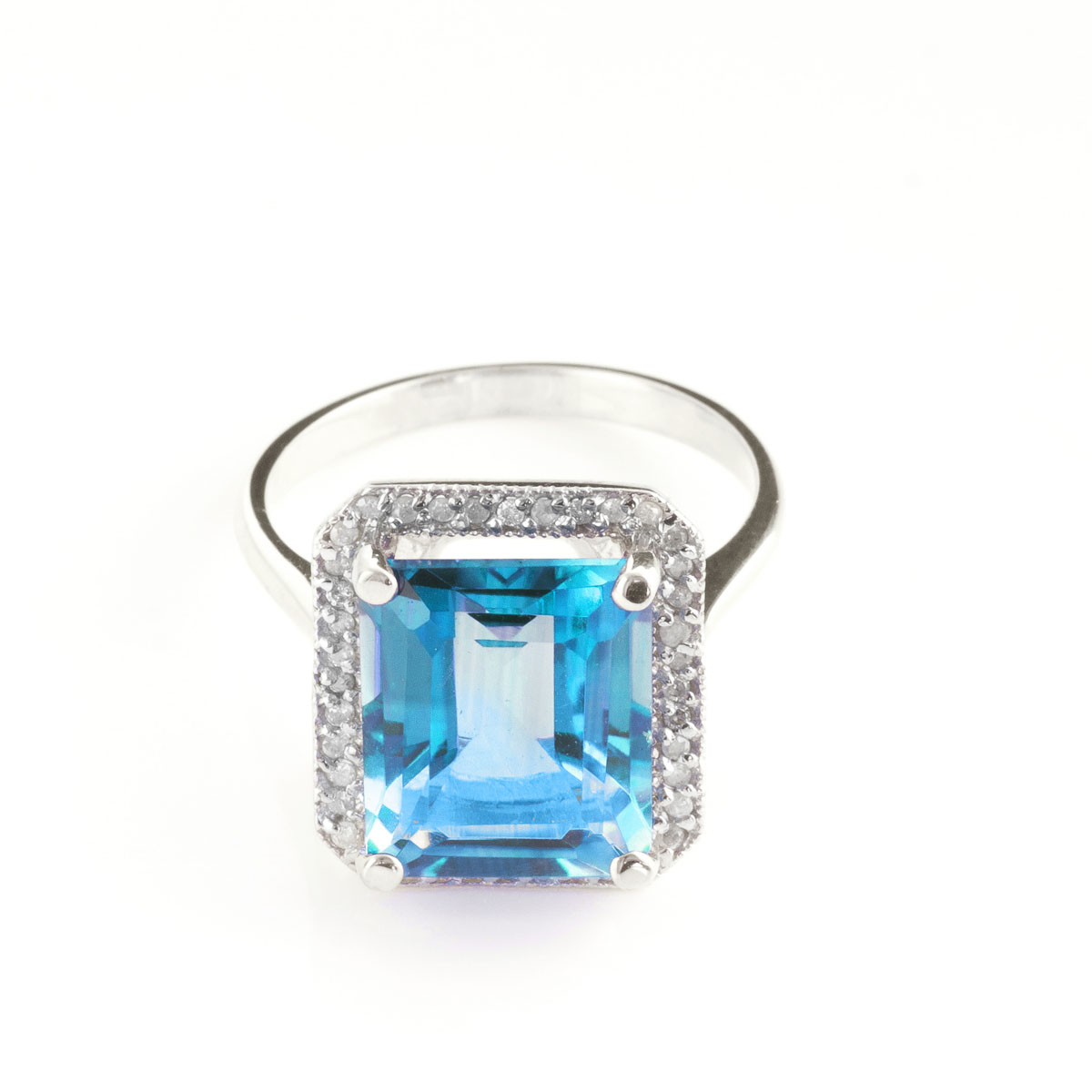 Blue Topaz Halo Ring 7.8 ctw in 18ct White Gold