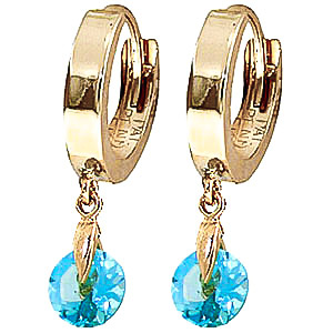 Blue Topaz Huggie Drop Earrings 2 ctw in 9ct Gold
