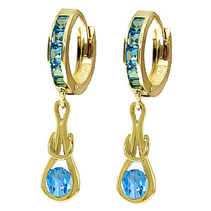 Blue Topaz Loop Knot Huggie Earrings 1.2 ctw in 9ct Gold