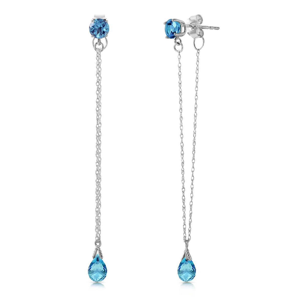Blue Topaz Monte Carlo Drop Earrings 3.15 ctw in 9ct White Gold