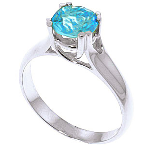 Blue Topaz Solitaire Ring 1.1 ct in 9ct White Gold