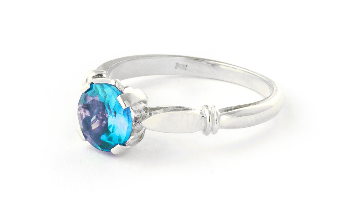 Blue Topaz Solitaire Ring 1.15 ct in 9ct White Gold