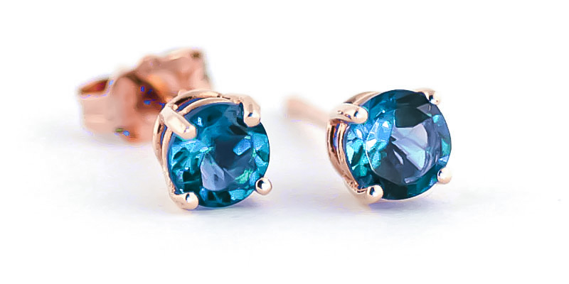 Blue Topaz Stud Earrings 0.95 ctw in 9ct Rose Gold