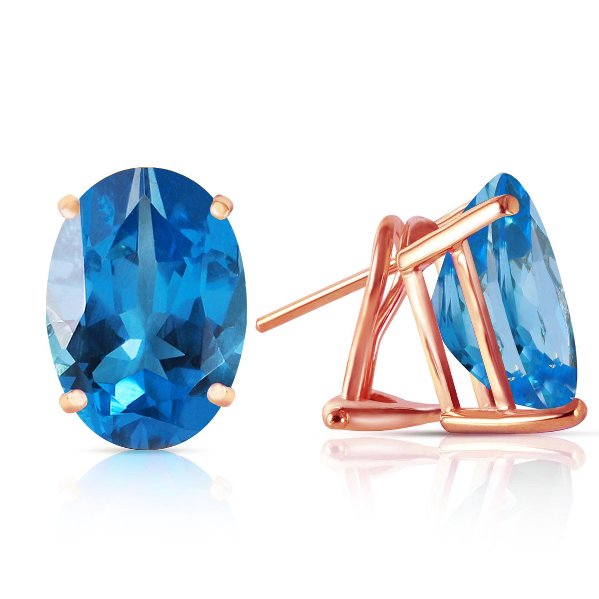 Blue Topaz Stud Earrings 16 ctw in 9ct Rose Gold