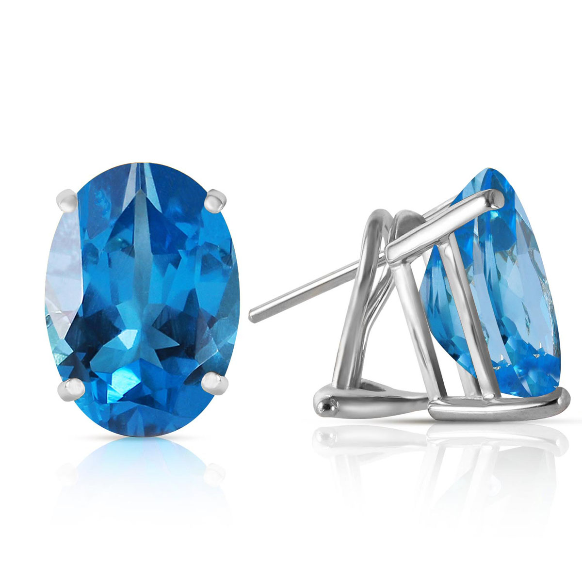 Blue Topaz Stud Earrings 16 ctw in 9ct White Gold