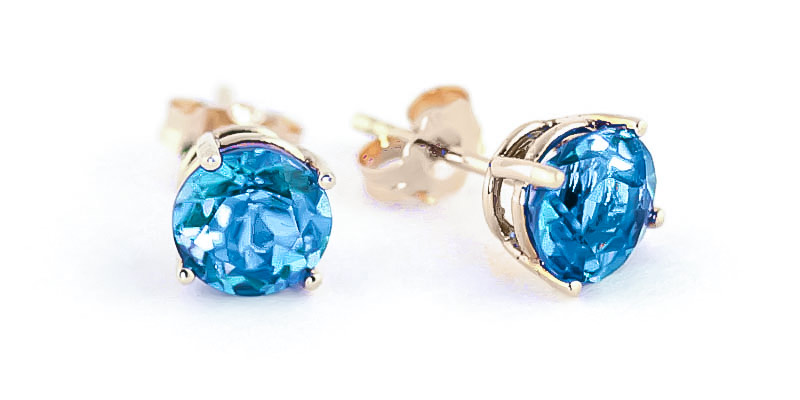 Blue Topaz Stud Earrings 3.1 ctw in 9ct Gold