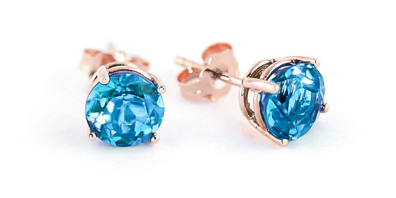 Blue Topaz Stud Earrings 3.1 ctw in 9ct Rose Gold